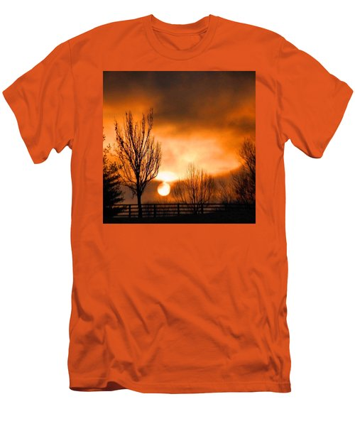 Men's T-Shirt (Slim Fit) featuring the photograph Foggy Sunrise by Sumoflam Photography