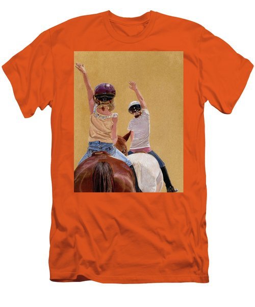 Follow The Leader - Horseback Riding Lesson Painting Men's T-Shirt (Slim Fit) by Patricia Barmatz