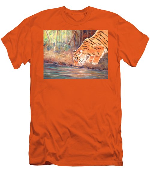 Men's T-Shirt (Athletic Fit) featuring the painting Forest Tiger by Elizabeth Lock