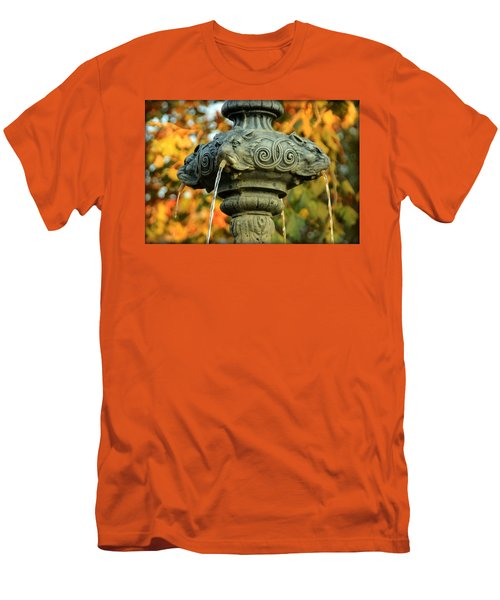 Men's T-Shirt (Slim Fit) featuring the photograph Fountain At Union Park by Chris Berry