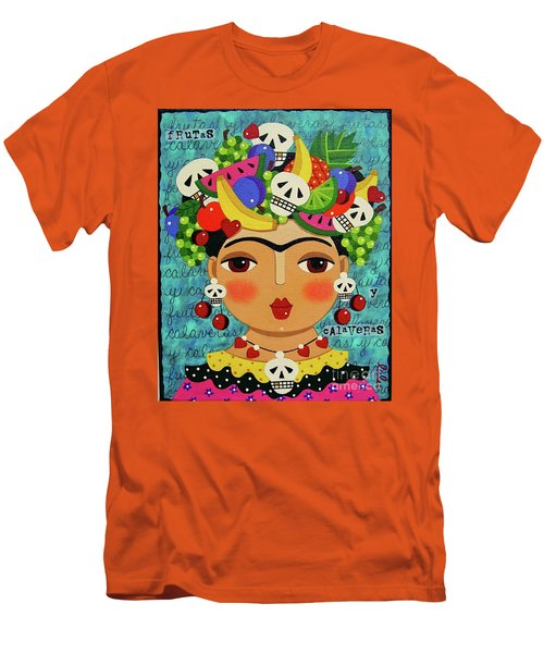Mens T Shirt Athletic Fit Featuring The Painting Frida Skulls And Fruits