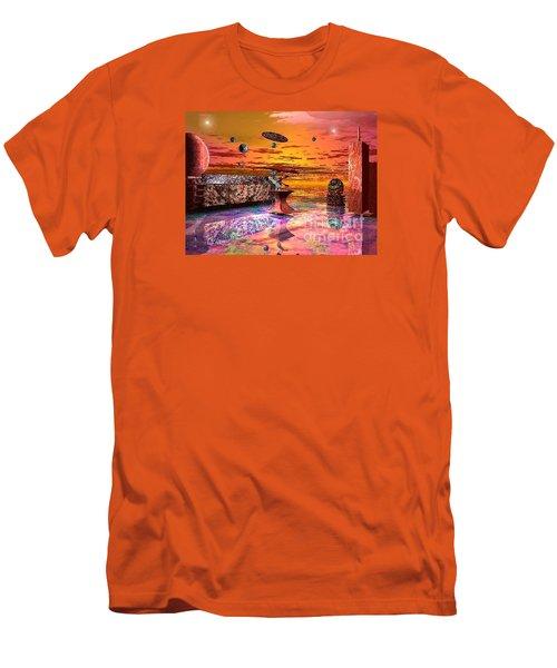 Men's T-Shirt (Slim Fit) featuring the digital art Future Horizions Firey Sunset by Jacqueline Lloyd