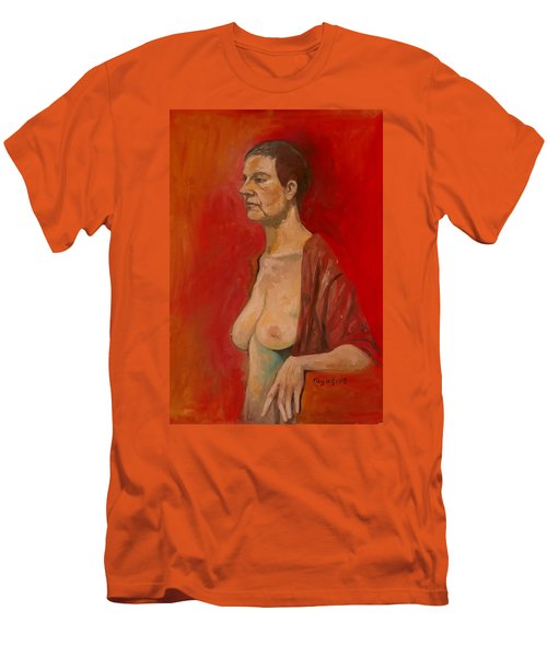 Men's T-Shirt (Slim Fit) featuring the painting Gabrielle Standing by Ray Agius