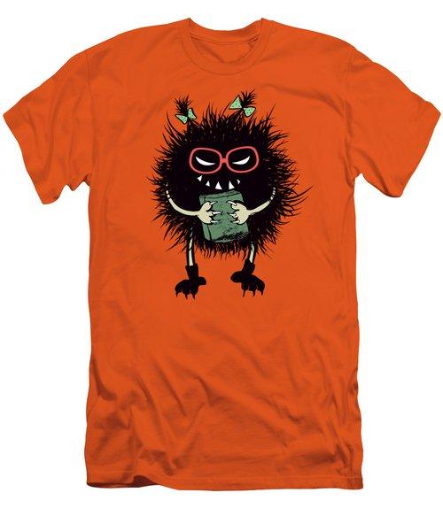 Geek Evil Bug Character Loves Reading Men's T-Shirt (Athletic Fit)