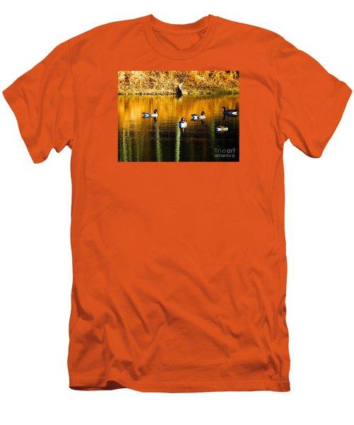 Geese On Lake Men's T-Shirt (Slim Fit) by Craig Walters