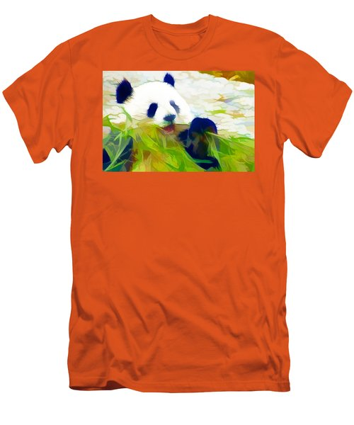 Men's T-Shirt (Slim Fit) featuring the painting Giant Panda Bear Eating Bamboo by Lanjee Chee