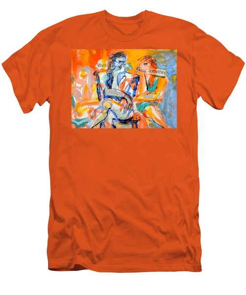 Men's T-Shirt (Slim Fit) featuring the painting Girl Talk by Mary Schiros