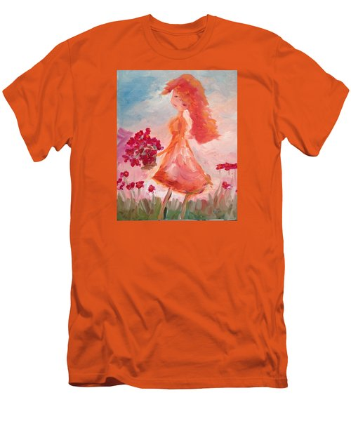 Girl With Poppies Men's T-Shirt (Athletic Fit)