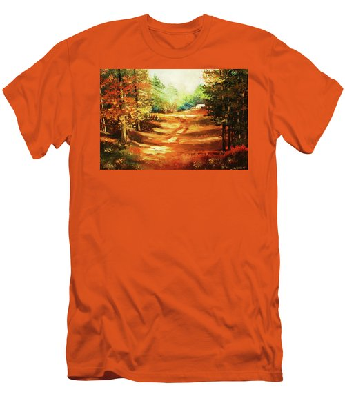 Glory Road In Autumn Men's T-Shirt (Slim Fit) by Al Brown