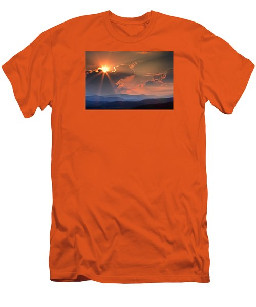God Rays Over N C  Mountains Men's T-Shirt (Athletic Fit)