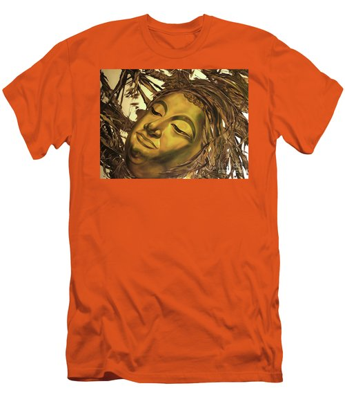 Men's T-Shirt (Slim Fit) featuring the painting Gold Buddha Head by Chonkhet Phanwichien