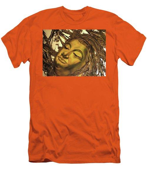 Gold Buddha Head Men's T-Shirt (Slim Fit) by Chonkhet Phanwichien