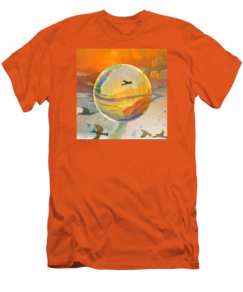 Men's T-Shirt (Slim Fit) featuring the painting Golden Age Of Flight by Robin Moline