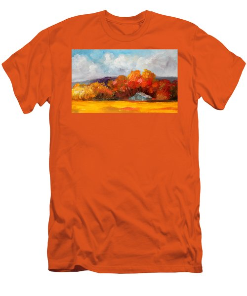 Golden Autumn Blue Country Horse Barn Men's T-Shirt (Slim Fit) by Michele Carter