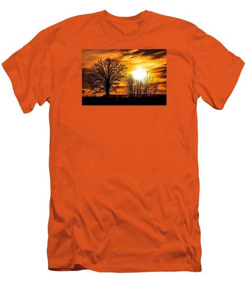 Golden Brushstrokes Men's T-Shirt (Athletic Fit)