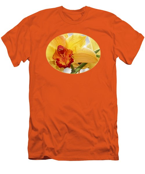 Golden Cymbidium Orchid Men's T-Shirt (Slim Fit) by Gill Billington