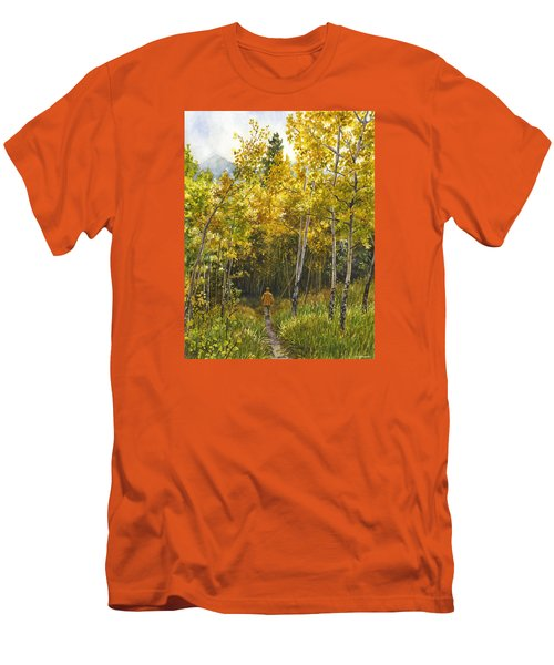 Men's T-Shirt (Slim Fit) featuring the painting Golden Solitude by Anne Gifford