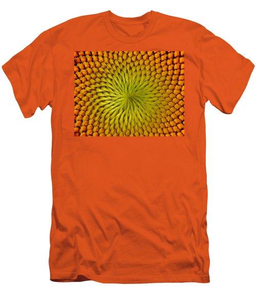 Men's T-Shirt (Slim Fit) featuring the photograph Golden Sunflower Eye by Chris Berry