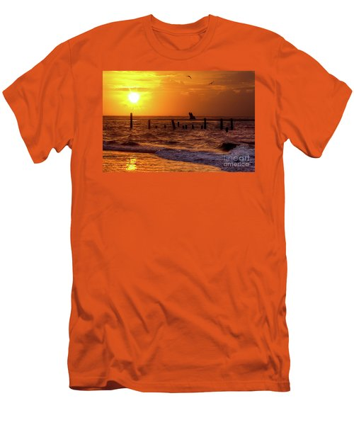 Men's T-Shirt (Slim Fit) featuring the photograph Golden Sunrise On The Outer Banks by Dan Carmichael