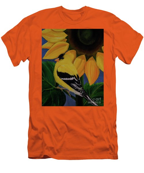 Goldfinch And Sunflower Men's T-Shirt (Athletic Fit)
