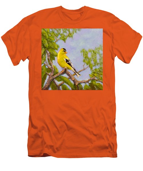 Men's T-Shirt (Slim Fit) featuring the painting Goldfinch by Joe Bergholm