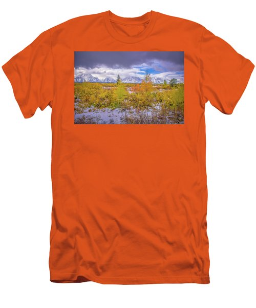 Grand Teton Fall Snowfall Men's T-Shirt (Athletic Fit)