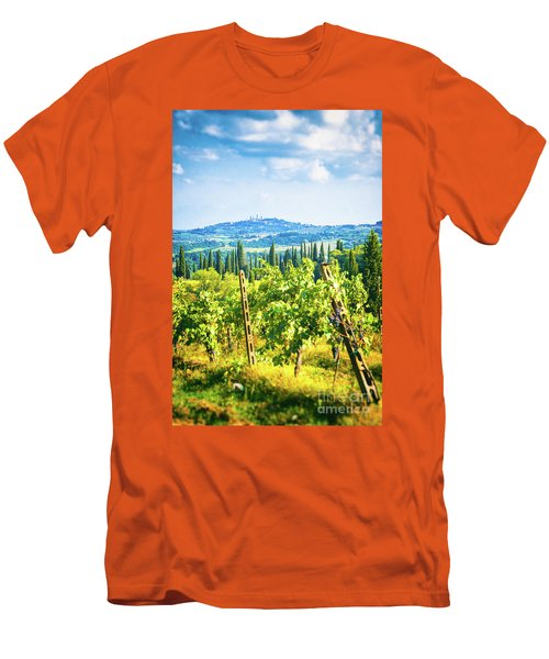 Men's T-Shirt (Athletic Fit) featuring the photograph Grapevine In San Gimignano Tuscany by Silvia Ganora