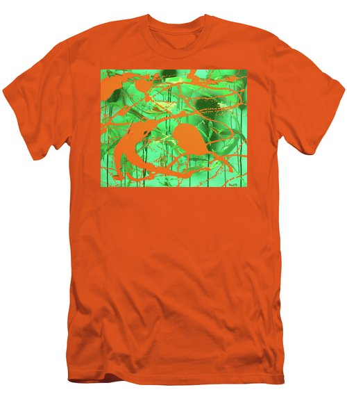 Men's T-Shirt (Slim Fit) featuring the painting Green Spill by Thomas Blood