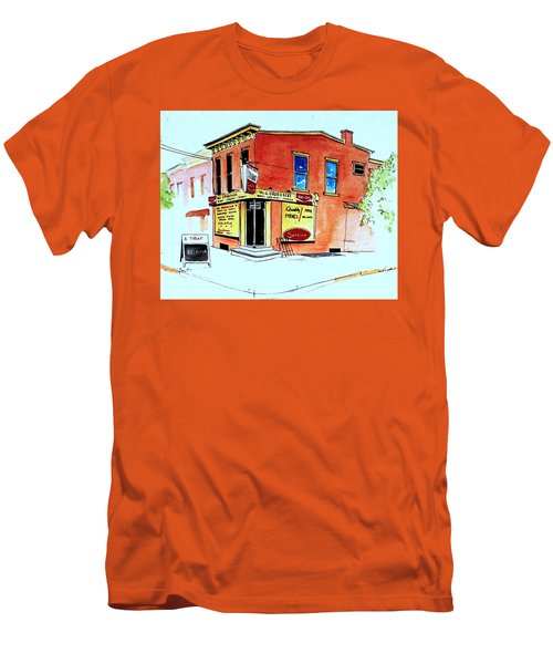 Men's T-Shirt (Slim Fit) featuring the painting Grodzicki's Market by William Renzulli