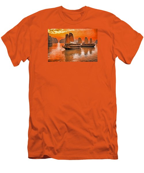 Halong Bay Junks Men's T-Shirt (Slim Fit) by Dennis Cox WorldViews
