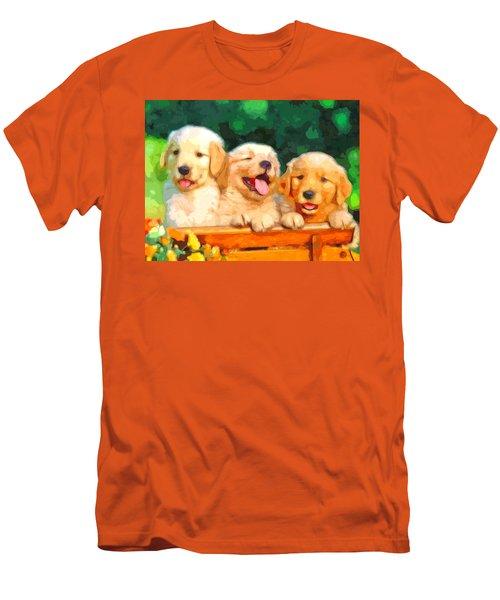 Happy Puppies Men's T-Shirt (Athletic Fit)