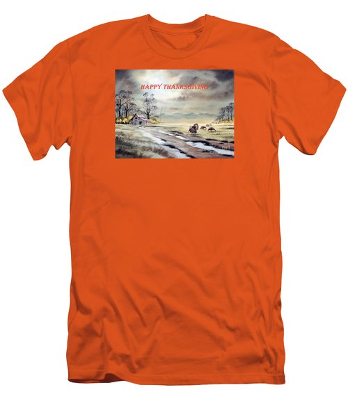 Happy Thanksgiving  Men's T-Shirt (Slim Fit) by Bill Holkham