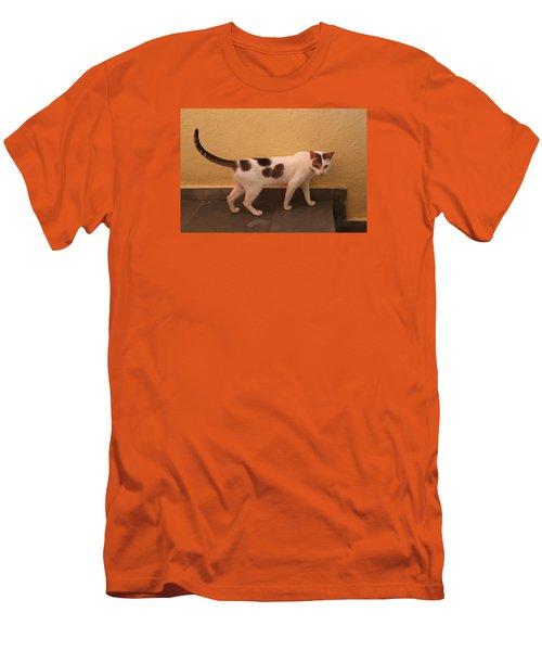 Heart Cat At Rosie's In Ganeshpuri Men's T-Shirt (Slim Fit) by Jennifer Mazzucco