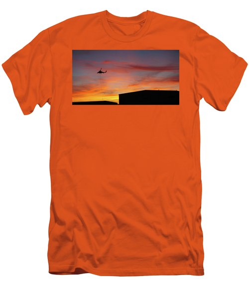 Helicopter And The Sunset Men's T-Shirt (Slim Fit) by Angi Parks