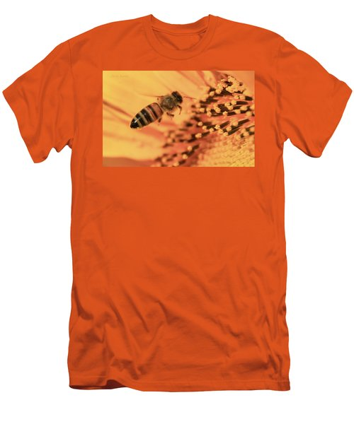 Men's T-Shirt (Slim Fit) featuring the photograph Honeybee And Sunflower by Chris Berry