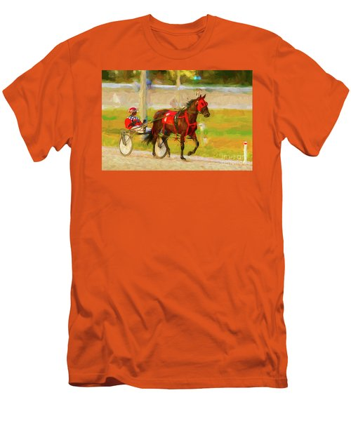 Horse, Harness And Jockey Men's T-Shirt (Slim Fit) by Les Palenik