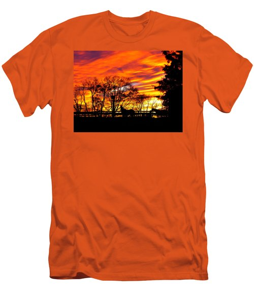 Men's T-Shirt (Slim Fit) featuring the photograph Horses And The Sky by Donald C Morgan