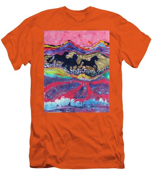 Horses Running Thru A Stream Men's T-Shirt (Slim Fit)