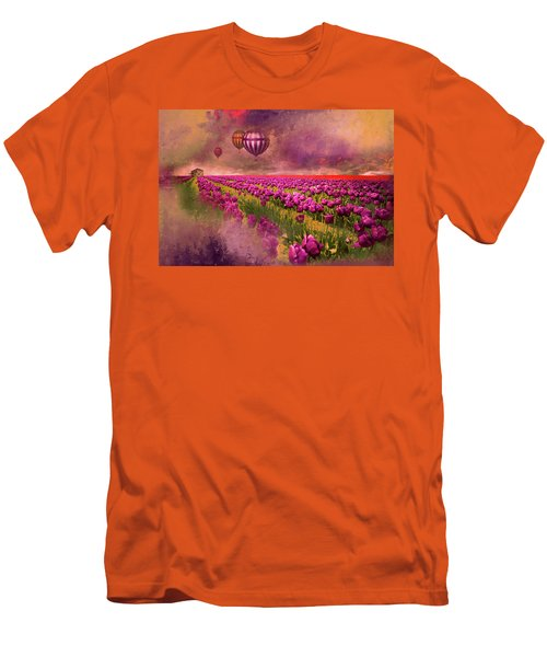 Hot Air Balloons Over Tulip Fields Men's T-Shirt (Slim Fit) by Jeff Burgess