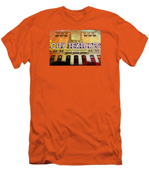 Men's T-Shirt (Slim Fit) featuring the mixed media Hot City Textures by John Fish