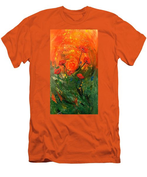 Hot Summer Poppies Men's T-Shirt (Slim Fit) by Dorothy Maier