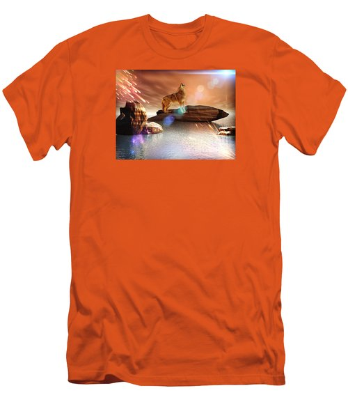 Men's T-Shirt (Slim Fit) featuring the digital art Howling Wolf Tropical by Jacqueline Lloyd