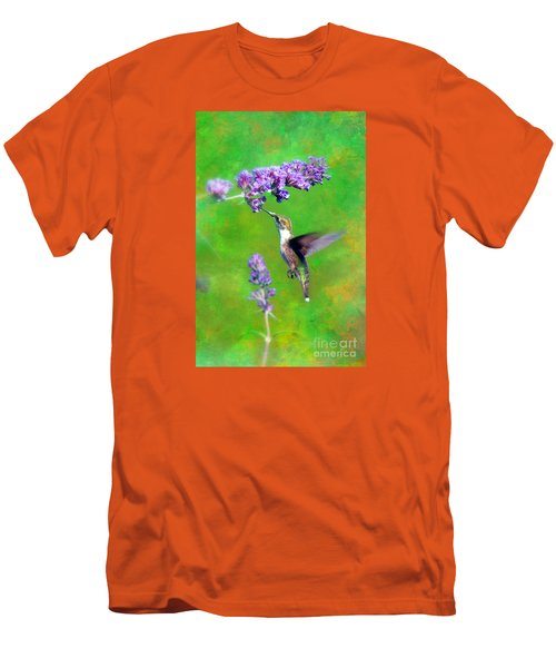 Humming Bird Visit Men's T-Shirt (Slim Fit) by Lila Fisher-Wenzel