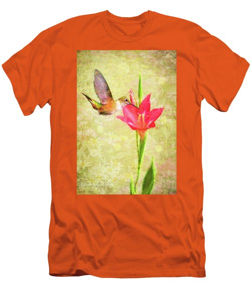 Men's T-Shirt (Slim Fit) featuring the digital art Hummingbird And Flower by Christina Lihani