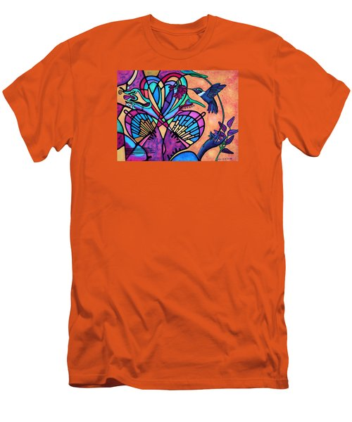 Men's T-Shirt (Slim Fit) featuring the painting Hummingbird And Stained Glass Hearts by Lori Miller