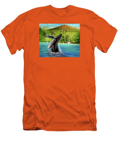 Humpback Whale Breaching At Haleakala Hawaii Men's T-Shirt (Slim Fit) by Bernadette Krupa
