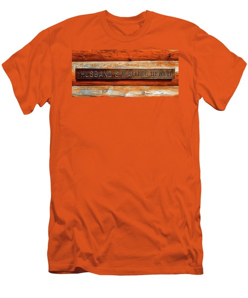 Men's T-Shirt (Slim Fit) featuring the photograph Husband's Waiting Bench - Denali National Park by Joseph Hendrix