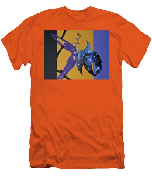 Men's T-Shirt (Athletic Fit) featuring the mixed media I Know Why The Caged Bird Sings by Michele Myers