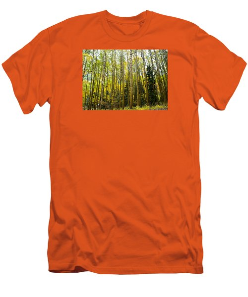 Men's T-Shirt (Slim Fit) featuring the photograph Iconic Colorado Aspens by Laura Ragland