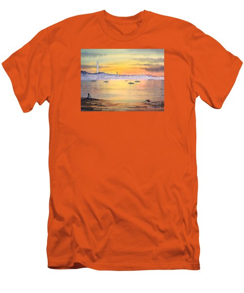 Men's T-Shirt (Athletic Fit) featuring the painting Impressions Of Provincetown by Bill Holkham